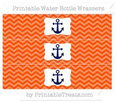 Orange Chevron  Nautical Water Bottle Wrappers