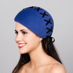 Royal Blue Fur Felt Beret Hat with CrossLaced Velvet by millistarr