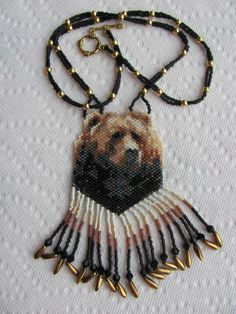 hand beaded Grizzley Bear Necklace  #Handmade #Beaded