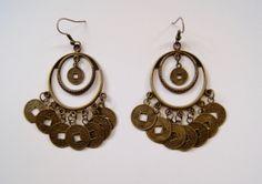 Oorbellen 2 ringen, versierd met geluksmuntjes Tibet KOPER kleurig - Earrings Tibetan good luck coins around 2 rings BRASS color