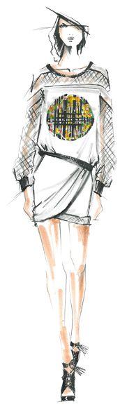 Designer Sketch by Rebecca Minkoff - PANTONE Hemlock, PANTONE Freesia & PANTONE Celosia Orange Spring 2014 Pantone Fashion Color Report #FCRS14 #pantone @Christina & Minkoff