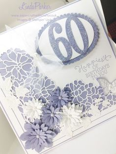 Linda Parker UK Independent Stampin' Up! Demonstrator from Hampshire @ Papercraft With Crafty : Happy Birthday to a lovely crafty friend - So Detailed meets Succulent Thinlits Dies 60th Birthday Cards For Ladies, Happy 60th Birthday, Handmade Birthday Cards, Purple Cards, Stampin Up Cards, Cricut Cards, Cards For Friends, Homemade Cards, Making Ideas