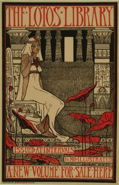 Poster for the Lotos Library, c.1896 (colour litho) by Oakley, Violet (1874-1961)