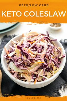 Does anyone else struggle to find coleslaw that is just right? Either it's too creamy, too acidic, or too sweet. Plus, on keto, it's almost always too high in carbs. For a quick low carb coleslaw you can rely on, it's best to make it yourself. Skip that pre-made, sugar-filled coleslaw from the grocery store or KFC — transform everyday low-carb ingredients into a perfectly-balanced keto coleslaw instead. #coleslaw #ketocoleslaw #lowcarbcoleslaw #coleslawrecipe Low Carb Side Dishes, Side Dish Recipes, Low Carb Recipes, Dinner Recipes, Keto Carbs, Low Carb Keto, Low Carb Coleslaw, Low Carb Lunch, Keto Snacks
