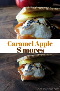 Caramel Apple S'mores Recipe -- Two of my favorite fall desserts in one! Perfect treat to have around a campfire. Apple Pie Jam, Fall Desserts, 4 Ingredients, Caramel Apples, Food Inspiration, Sweet Recipes, Healthy Living, Nutrition, Treats