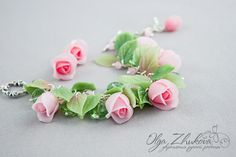 Polymer clay leaves and rose flowers handmade bracelet