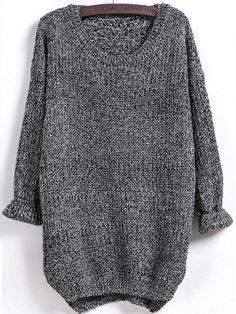 Fall Sweater Long Sleeve Dipped Hem Oversized Loose Sweater - My Style - Sweaters Fall Sweaters, Long Sweaters, Blue Sweaters, Oversized Sweaters, Casual Sweaters, Oversized Tops, Casual Shirts, Pullover Shirt, Shirt Bluse