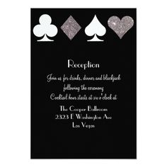 Las Vegas Wedding RSVP Cards Destiny Vegas Reception Faux Silver Glitter Card