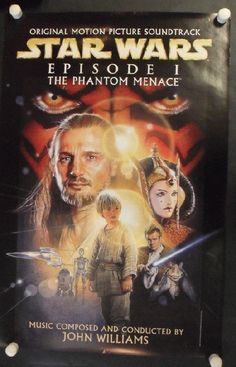 Original promotional poster for Star Wars Episode I Phantom Menace Soundtrack. 24 x 36 inches. NM condition.