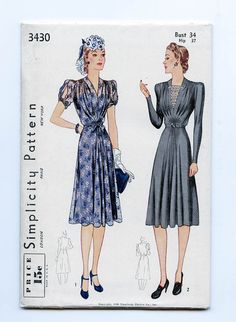 1930s / 1940s Dress Pattern / Late 1930s or by SewingBirdPatterns
