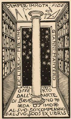 Ex Libris by Bruno da Osimo for Gianni Mantero