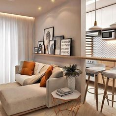 Small and modern living room decoration: Tendências 2019 Small Apartment Interior, Apartment Decorating On A Budget, Small Apartment Design, Small Apartments, Home Interior Design, Interior Ideas, Condo Living, Home Living Room, Living Room Designs