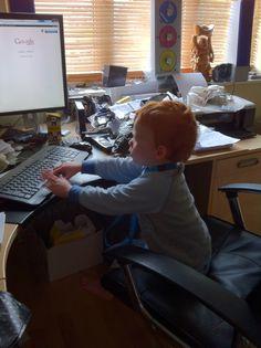 Computer whizz kid! Desk, Kids, Young Children, Desktop, Boys, Table Desk, Children, Office Desk, Desk Office