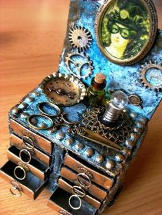 Steampunk Matchboxes Hairdresser Table - awesome!