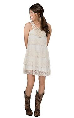 Short lace wedding dress with cowboy boots #lace #boots #western ...
