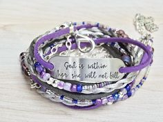 Leather Bracelets for Women Stamped Bracelet God is Within Her She Will Not Fall Leather Wrap Bracelet Beaded BOHO Bracelet Quote Jewelry