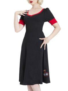 """Women's """"8 Ball Cherry"""" Flair Dress by Voodoo Vixen (Black)"""