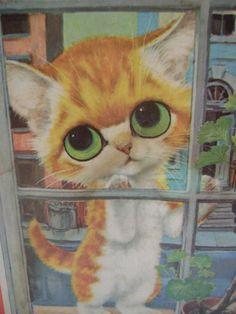 Pity Kitty by Gig | vintage GIG pity kitty sad-eyed big-eyed kitten wall hanging
