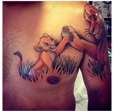 Lion king tattoo! Excuse the nasty chest