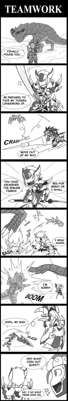 Monster Hunter: TeamWork by SilentGPanda. I mostly play Monster Hunter with my friend. He uses a bow and arrows and I use a longsword or insect glave. We never get in each others way except if one of us mounts and the other doesn't know. Monster Hunter Memes, Monster Hunter World, Monster Hunter 4 Ultimate, Minecraft Images, Hunter Games, Funny Comic Strips, Teamwork, Creatures, Pictures