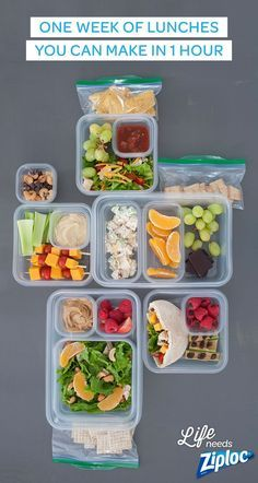 All you need is one grocery list and one hour (and a few Ziploc® bags and containers) for five easy, healthful, make-ahead lunches. Ready set...shop, prep, assemble!