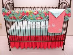 4 pc #Love #Bliss #Turquoise Bedding – Polka Tot Designs #Bumperless #Baby #Bedding #Teething #Rail #Guard #NOBUMPER #AmyButler #Coral #BabyGirl #Expecting #Nursery