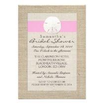 Light Pink Burlap Sand Dollar Beach Bridal Shower invitations