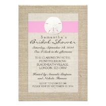 Light Pink Burlap Sand Dollar Beach Bridal Shower invitations