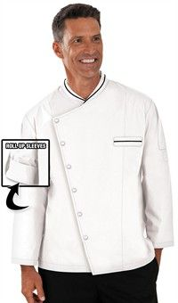 Style # 67518: WHITE/BLACK: Traditional Fit Chef Coat with Roll Up Sleeves - Snap Front Closure - 65/35 Poly/Cotton Fine Line Twill $24.99
