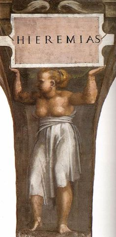 ❤ - MICHELANGELO BUONARROTI - (1475 - 1564) - Sistine Chapel - Seven Prophets - Jeremiah (detail).