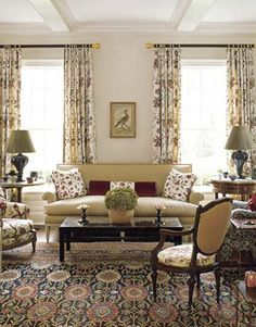 Designer Markham Roberts creates a cozy nest for a Connecticut family - living room sofe in Travers's Lacquered Linen.
