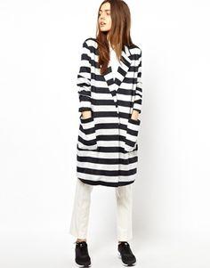 ASOS Light Weight Coat in Wide Stripe
