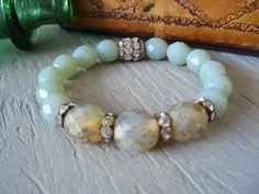 Stretch bracelet 'TRIBECA - Blue Opal/ Sand' sea blue, baby blue, vintage rhinestones, rustic bohemian, beaded trendy stack bracelet