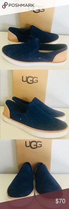 UGG Adley Perf Marino Slip On Model: 1018375S This classic slip-on is made from soft suede with sporty detailing. A leather heel cap gives it a high-contrast kick.  Suede and leather Foam and PORON® insole UGGpure™ heel lining Leather welt Rubber outsole UGG Shoes Sneakers