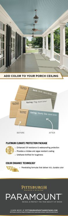 porch paint ideas Create a Colorful Porch Ceiling! Your porch ceiling deserves protection and a pop of color. With Paramounts semi-transparent and solid stains, your porch ceiling wil Exterior Colors, Exterior Paint, Exterior Design, Living Pool, Outdoor Living, Pergola, Up House, House Porch, Decks And Porches