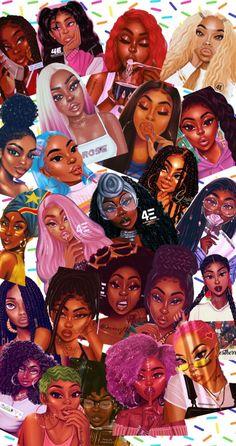 Black Girl Cartoon, Black Girl Art, Black Women Art, Art Girl, Cute Black Wallpaper, Cute Wallpaper Backgrounds, Girl Wallpaper, Ios Wallpapers, Cartoon Wallpaper Iphone
