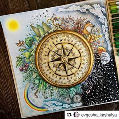 Que perfeito! #Repost @evgesha_kashulya with @repostapp #florestaencantada #enchantedforest #magicaljungle #selvamagica Времена года☁️❄️#johannabasford #джоаннабэсфорд #зачарованныйлес #цветныекарандаши
