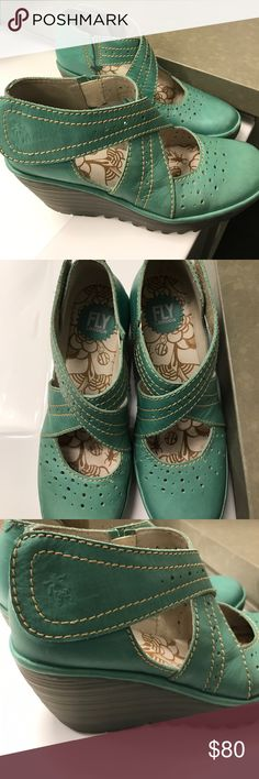 SALE!! Lovely Fly London Platform Shoes Worn only a couple times. In excellent condition. Beautiful teal color. Leather. Size 38. These fit more like a 7.5. I wear a size 7 and there is some room at the toe. Fly London Shoes Platforms