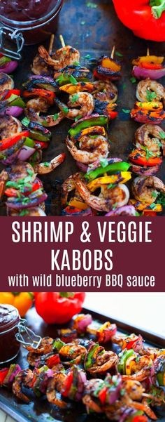 The perfect recipe for Labor Day weekend, these shrimp and veggie kabobs with Wild Blueberry Barbecue Sauce are sure to be a hit at your last summer hoorah! #AD