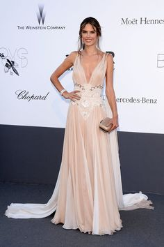 Alessandra Ambrosio looked delicate in her nude embellished Zuhair Murad couture gown at amfAR's Cinema Against AIDS gala.