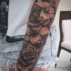 Unique Half Sleeve Tattoos, Full Sleeve Tattoos, Tattoo Sleeve Designs, Half Sleeve Tattoos Forearm, Arm Sleeve Tattoos For Women, Pretty Tattoos, Cute Tattoos, Body Art Tattoos, Hand Tattoos