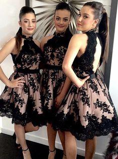 Knee Length Keyhole Back High-neck Black Lace Homecoming Dress