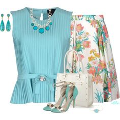 """""""Floral Skirt and Pleats"""" by kginger on Polyvore"""
