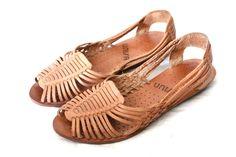 Vintage Caramel Leather Huarache Sandals Sz 7.5. $38.00, via Etsy.