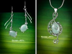 """Green music"" Silver set 