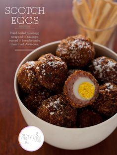 Scotch Eggs. A great recipe for how to make scotch eggs. A hard boiled quail egg wrapped in sausage, coated in breadcrumbs them fried.