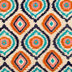 Navy Blue and Orange Upholstery Fabric - Embroidered Turquoise and Navy Curtain Material - Orange Turquoise Ikat Throw Pillows and Bedding by PopDecorFabrics on Etsy https://www.etsy.com/listing/167705789/navy-blue-and-orange-upholstery-fabric