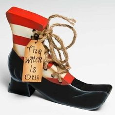 "Amazon.com: Painted Wood Halloween Boot with "" the Witch Is In"" or "" the Witch Is Out"" Tag: Home & Kitchen"