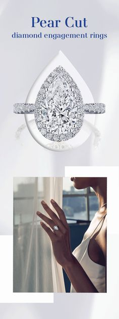 Pear cut engagement rings or teardrop rings as they're also known, are as distinctly unique and unusual as their wearers. A cross between a brilliant round and marquise, the pear shape diamond can be worn pointing up, down, or even east to west. Discover Tacori's favorite pear cut diamond rings. #PearCut #PearDiamond #EngagementRing #DreamRing #Tacori #TacoriRing