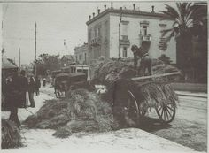 20 Απριλίου 1917. σανο σε κεντρικό δρόμο της Αθήνας (Σταδίου βουκουρεστίου και Αμερικής σημερινο Μετ.Ταμ.Στρατού